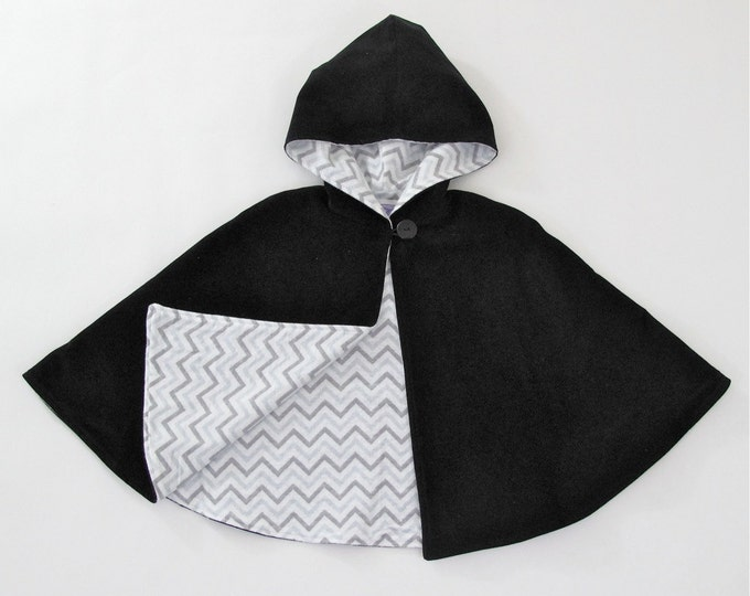 Black Corduroy Cape for Girls' or Boys' with Gray & White Chevron Lining, Hooded Cape, Girls' Capelet, Boys' Poncho, Size 3/4T