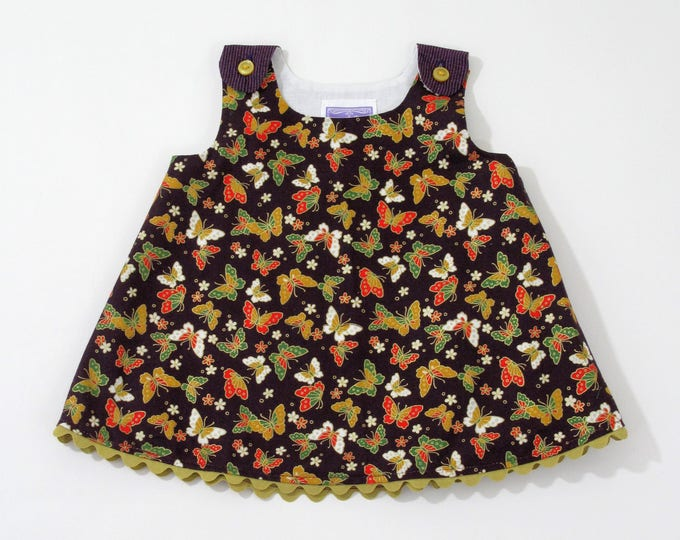 Purple Sparkly Butterflies Girls' Dress, Baby Dress, Baby Shower Gift, Girls' Sundresss, Baby Pinafore, Monarch Butterfly, Size 3 - 6 Months
