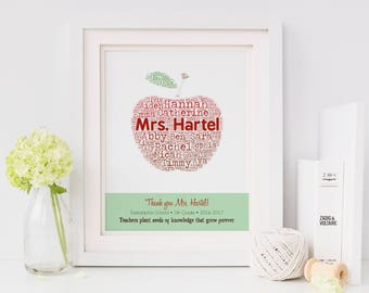 Personalized TEACHER Gift Print - Apple Print with Student Names - Typography Art Print - Personalize with Name, School, Grade, Year