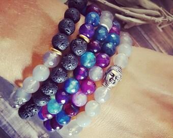 Essential Oil Diffuser Bracelet, Gemstone Bracelets, Mermaid Agate, Stackable, Gemstone Jewelry, Beaded Bracelet, Essential Oil Bracelet