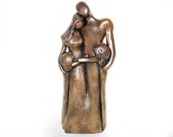 8th Anniversary Family Portrait, Bronze Anniversary Gift, Gift for Her, Gift for Him, 8 Year Anniversary Gift, Bronze Family Portrait