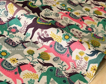 Japanese Fabric Happy Ponies - pink, green, mauve, brown, yellow - 50cm
