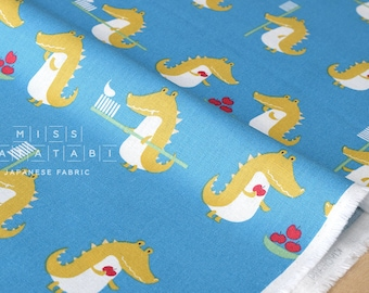 Japanese Fabric - Putidepome - teeth brushing crocodiles - blue - 50cm