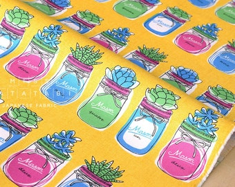Japanese Fabric Mason Jar Terrarium - yellow - 50cm