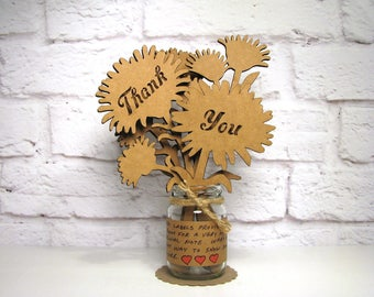 THANK YOU Gift You Can Personalize - Corrugated Cardboard Flowers Bouquet In Mini Mason Jar