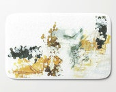 Bath Mat, Bath Rug, White Bath Mat, Charcoal Gray, Mustard Yellow, Bathroom Mat, Bathroom Decor, Art Bath Mat, Art Bath Rug, Watercolor Mat
