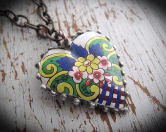 Soldered Tin Heart Necklace.  Heart Tin Necklace. Bohemian Heart Necklace