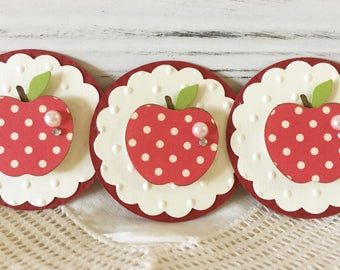 Sweet Red Apple Polkadot Embellishments Spring Green set of 3