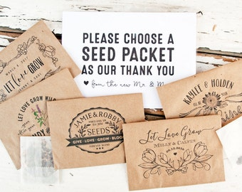 Seed Packet Wedding Favors - Personalized Seed Favors - Let Love Grow  - Seeds included - 30 Packets or more