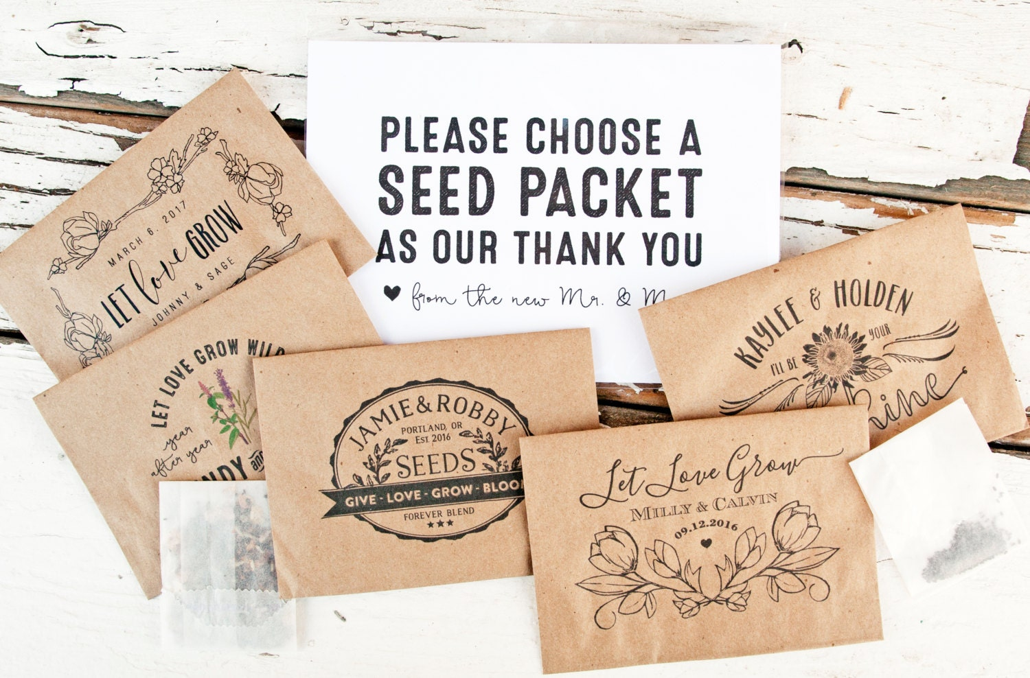 Seed Packet Wedding Favors Personalized Seed Favors Let