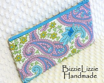 Paisley Zipper Pouch, Handmade Make Up Bag, Ladies Accessory Pouch, Green and Purplish Blue Zippered Pouch, Organizer Pouch, Gift Under 15
