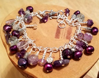 Purple Dragonfly gemstone and freshwater pearl chunky cha cha chain bracelet ... and it's adjustable too!