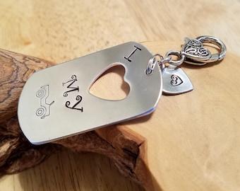 I Heart My Jeep aluminum dogtag dog tag keyfob hand stamped and polished OIIIIIIIO