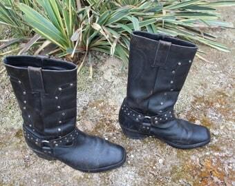 VINTAGE mens black leather boots