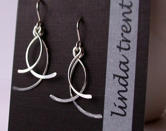 Swinging Petal Earrings. Sterling earrings Metal Earrings. Sterling silver Earrings. Casccading Leaves Earrings.