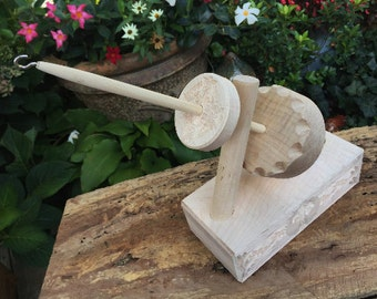 Mother Marion Kick Spindle or Kick Wheel - Meggie - Celtic Cross Design - Solid Maple Base- Stunning, Made by Heavenly Handspinning