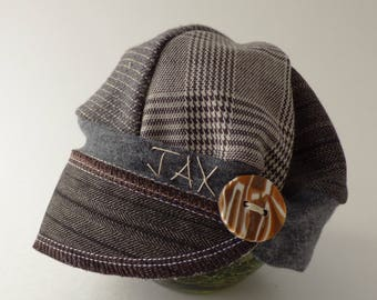 Infant Jax Hat - Montana hat - menswear hat - newsboy hat - Baby Shower gift - photo prop - photographer baby hat - Upcycled recycled hat