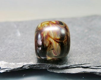 Handmade Lampwork Barrel shaped focal Bead by GlassBeadArt  ... SRA F12 ... silver glass with window effect 15x16mm freeformed focal