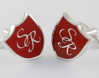 Monogram Crest Cufflinks in Sterling Silver and red enamel, personalized