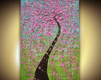 ORIGINAL OIL PAINTING Contemporary Modern Fine Art Pink Cherry Tree Palette Knife Impasto Textured by Susanna 36x24 Made to Order