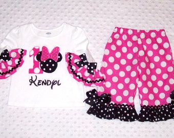 Minnie Mouse Applique Number T-shirt with Ruffle Sleeves and Pink Minnie Dot Ruffle Pants with Black Ric Rac Trim Birthday Party