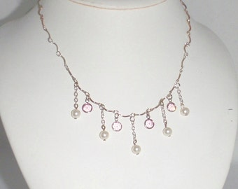 Pink Crystals Cream Pearls Silver Chain Necklace