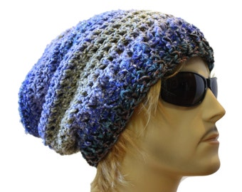 Slouchy Beanie Crochet Slouch Beanie Hat One Of A Kind Mens or Womens Hat  Ready to Ship