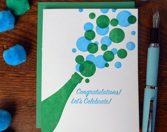 letterpress congratulations! let's celebrate champagne greeting card congrats wedding anniversary engagement bubbly