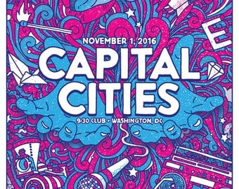 Capital Cities 9:30 Club Washington DC Gigposter GIGART Poster 2016
