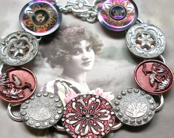 """French BUTTON bracelet, Victorian BIRD & flowers on silver, 7.75"""" Antique button jewellery."""