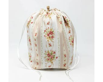 MOVING SALE - Flowers and Stripes Drawstring Knitting Project Bag