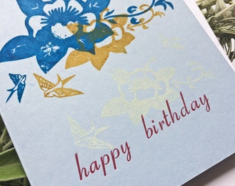 Birthday Card Letterpress Card Silk screen Card Greeting Card Flowers Birds Card Stationery Stationary Gift for Her Gift Ideas Gift for Him