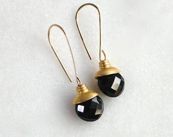 Modern Black Spinel Coin Earrings in 14k Gold Fill....
