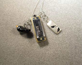 Blackbird Harmonica necklace inspired by The Beatles