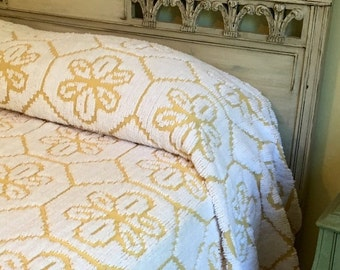 BIG SALE - Fluffy Golden Yellow and  White Vintage Chenille Bedspread  - Full Size - All Cotton with Pom Fringe