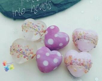 Lampwork Glass Beads Pink Hearts .. per pair