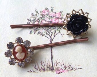 Cameo and Black Rose Hair Pins, Copper Tone, Upcycled Vintage Earrings,