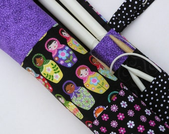 large knitting needle case - knitting needle organizer - colorful matryoshka dolls with colorful purple, pimk and black prints - 36 pockets