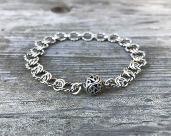 Sterling silver fancy link bracelet with magnetic clasp