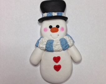 Snowman Pin - Handsculpted Clay Snowman Brooch - Christmas Pin