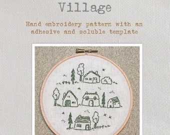 Village - Embroidery Pattern - Create a charming village embroidery with this lovely pattern