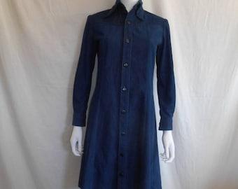 Closing Shop Sale 40% Off Vintage Denim jean dress, Selvedge long sleeve dress, 60s 70s dress