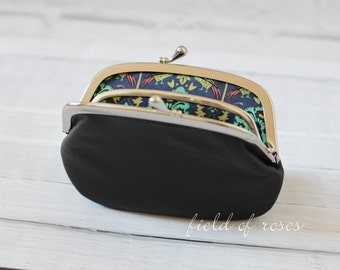 On Sale Women's Black Leather Frame Wallet with Divider Liberty of London 2 Section