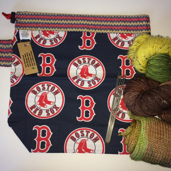 Knitting Project Bags For Sale : Sale boston baseball skein drawstring knitting project