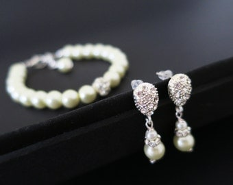 Bridesmaid Jewelry Set Pearl Bracelet and Earrings Set Bridesmaid Earrings Wedding Jewelry Set Pearl Rhinestone Necklace Swarovski Drop