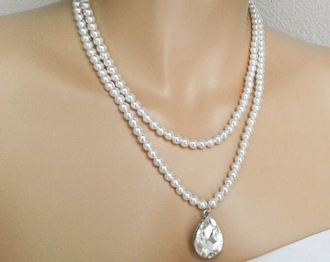Vintage Inspired Swarovski Pearl Bridal Statement Necklace Art Deco Large Crystal Drop Downton Abbey Wedding Jewelry Old Hollywood CHERYL