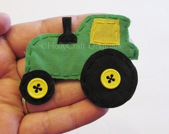 Tractor Applique, Tractor Patch, Handmade Fabric Tractor in Your Choice of Colors, Farm Equipment Applique, Tractor Embellishment