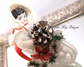 Sleigh Ride Spun Cotton Doll Christmas Decoration China Head Doll In Sleigh Vintage Inspired Art Doll