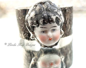 Cameo Doll Bracelet Soldered Cuff China Doll Head Wearable Doll Face Statement Bracelet