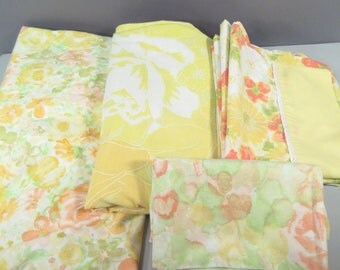 Vintage full sheets, full sheet set, double sheets, remixed, retro print, flower sheets, floral print, wildflowers, mid century, yellow